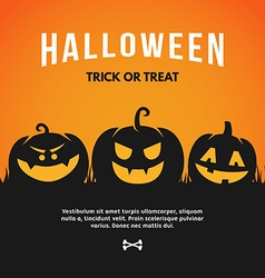 Halloween with pumpkin and text halloween - trick vector