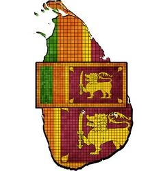 Sri Lanka map with flag inside vector image