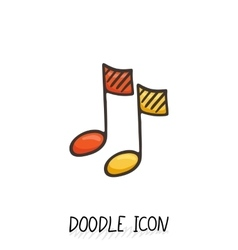 Doodle multimedia musical note icon sound vector