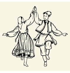 Couple dancing dressed in national costumes vector