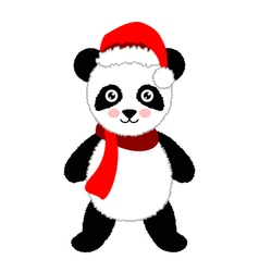 Cartoon panda wearing santa hat isolated vector