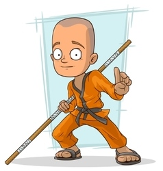 Cartoon young kung fu buddhist with stick vector