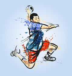 Color line sketch of a handball player vector