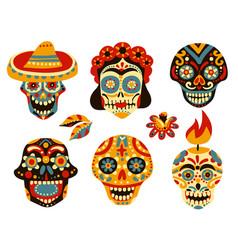Dead day mexico skulls set vector