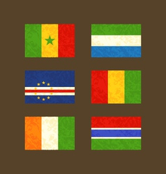 Flags of Senegal Cape Verde Ivory Coast Sierra vector image