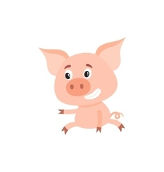 Funny little pig sitting awkwardly and pointing to vector image vector image
