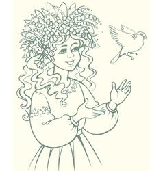 Girl in wreath looking at bird vector image vector image