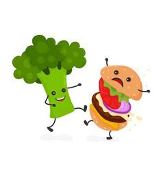 happy smile strong broccoli kick burger vector image vector image