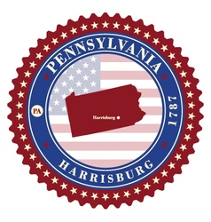 Label sticker cards of state pennsylvania usa vector