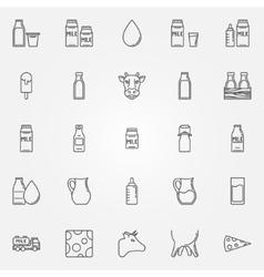 Milk icons set vector