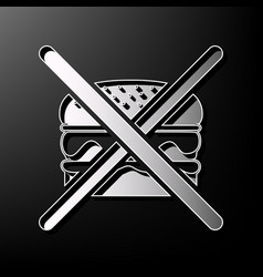 No burger sign gray 3d printed icon on vector