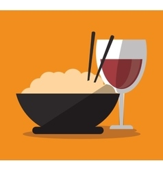 Noodle and wine cup of fast food concept vector