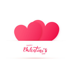paper cut two red heart happy valentines day vector image