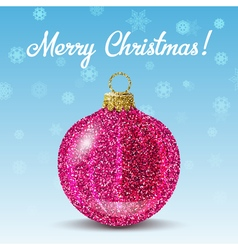Pink christmas ball on snowflakes background vector