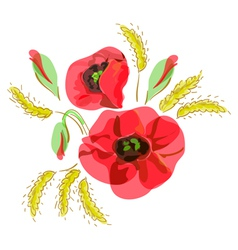 Red poppies and ears of wheat vector