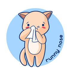 Runny nose sick cute kitten of vector