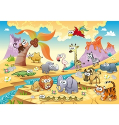 Savannah animal family with background vector