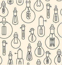 seamless pattern made of linear lightbulbs vector image