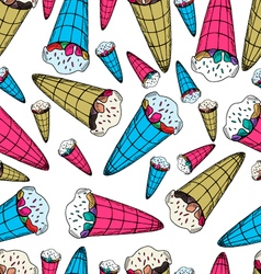 Seamless pattern with ice-cream in retro style vector image vector image