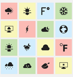 Set of 16 editable weather icons includes symbols vector