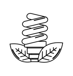 Silhouette energy save bulb with leaves icon vector
