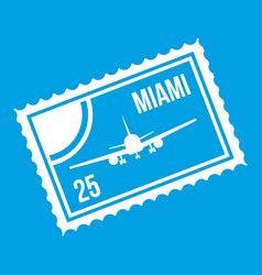 Stamp with plane and text miami inside icon white vector