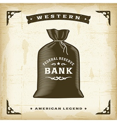 Vintage Western Money Bag vector image