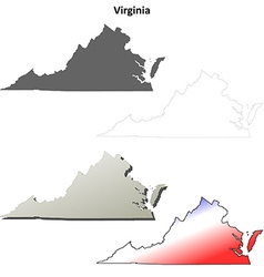 Virginia outline map set vector image vector image