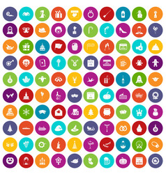 100 holidays icons set color vector image