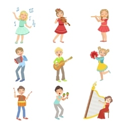 Kids singing and playing music instruments set vector