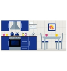 Kitchen with furniture flat vector