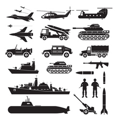 Military Vehicles Object Silhouette Set Side View vector image