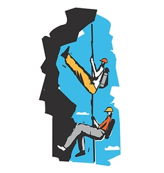 Two climbers on a rope cartoon vector