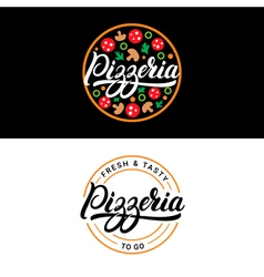 Set of pizzeria hand written lettering logo label vector