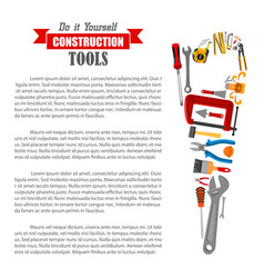 hand saw with work tool poster for diy design vector image