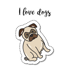 Fashion patch element with dog vector