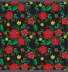 vintage flower seamless pattern embroidery vector image