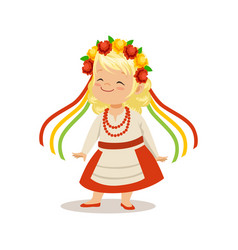 Blonde girl wearing national costume of ukraine vector