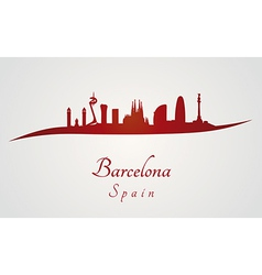 Barcelona skyline in red and gray background vector