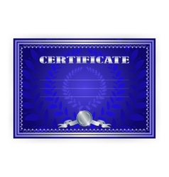 Horizontal silver certificate with a laurel wreath vector