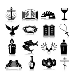Christianity icons set black vector