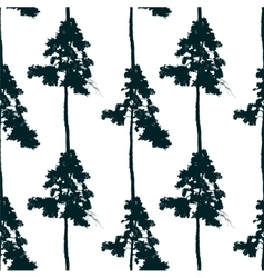 seamless pattern with pine tree vector image