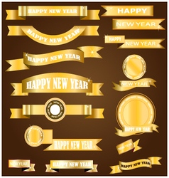 New year gold ribbon vector