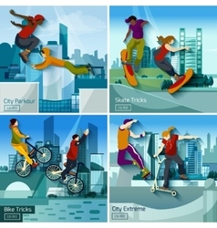Extreme city sports 2x2 design concept set vector