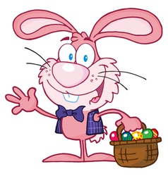 Pink bunny with easter eggs and basket vector
