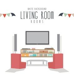 White background living room vector