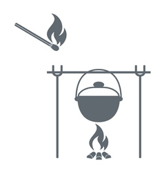 Camp pot and matches icon vector
