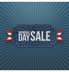 Memorial day sale festive label and ribbon vector
