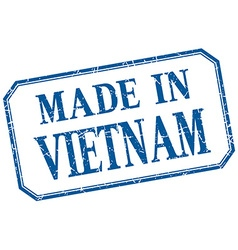 Vietnam - made in blue vintage isolated label vector