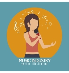 Woman singing isolated icon design vector